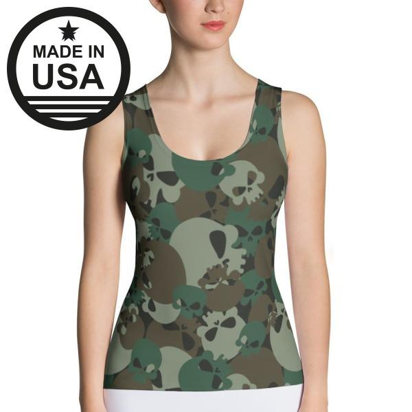 Camo Skulls - Active Gear Tank Xs / Green