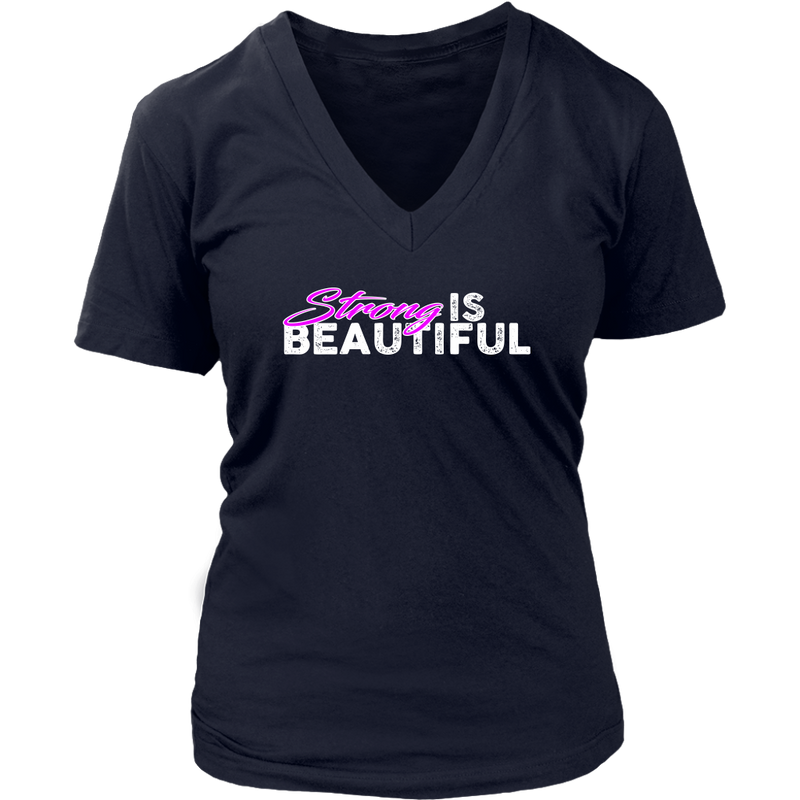 Strong Is Beautiful - Womens Vneck District V-Neck / Navy Blue S T-Shirt