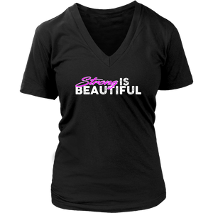 Strong Is Beautiful - Womens Vneck District V-Neck / Black S T-Shirt
