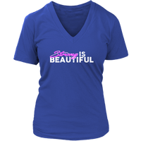 Strong Is Beautiful - Womens Vneck District V-Neck / Blue S T-Shirt