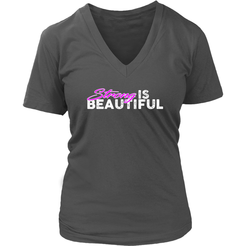 Strong Is Beautiful - Womens Vneck District V-Neck / Dark Gray S T-Shirt