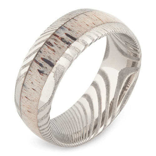 aspen damascus steel wedding ring