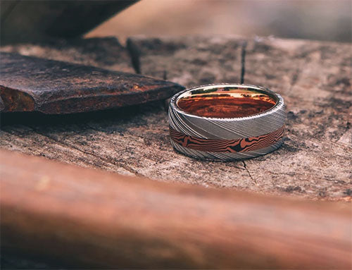 Bowie Damascus Steel Wedding Ring