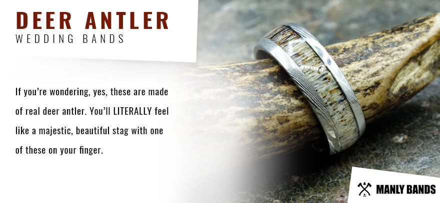 Deer Antler Wedding Bands