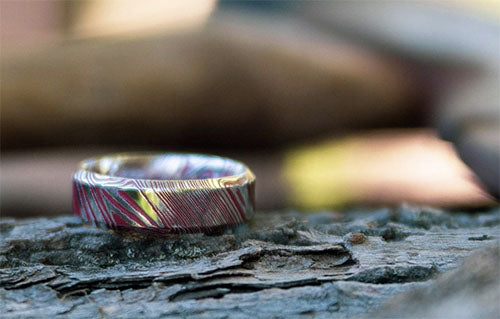 The Daredevil Damascus Steel Wedding Ring