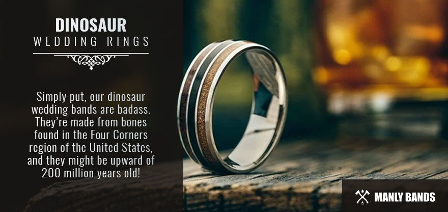 dinosaur wedding rings graphic
