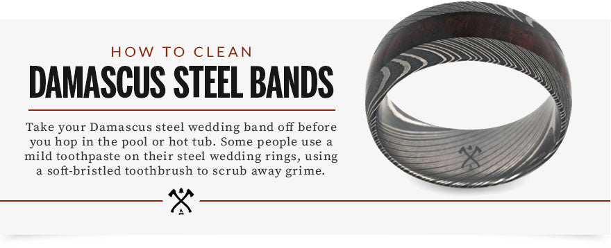 how to clean damascus steel bands graphic