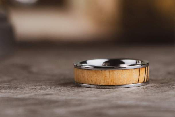 The Adam Titanium w/Wood Inlay Wedding Ring