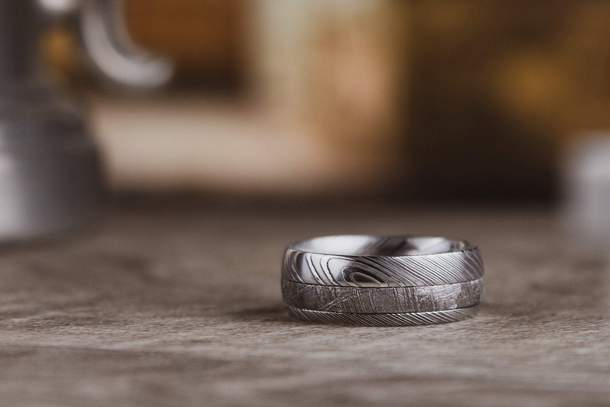 The Inventor Damascus Steel Wedding Ring