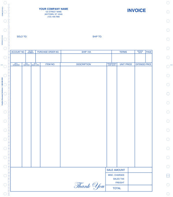 Great Plains Continuous O/E Invoice