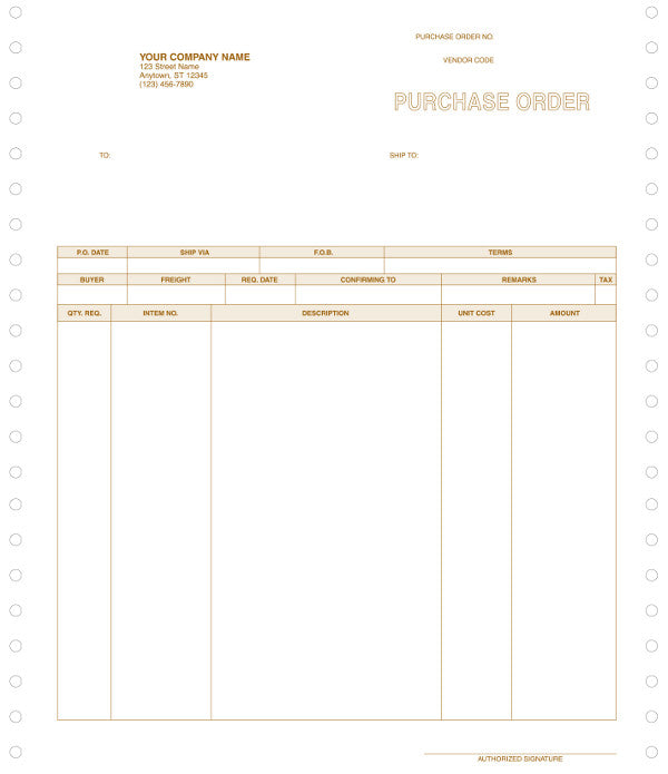 MAS 90 & MAS 200 Continuous Purchase Order Form