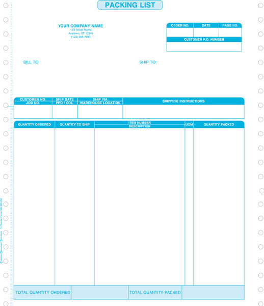 Macola 7 Continuous Packing List Form