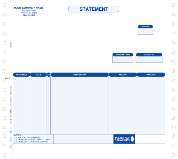 Macola 7 Continuous Statement Form (No Remittance)