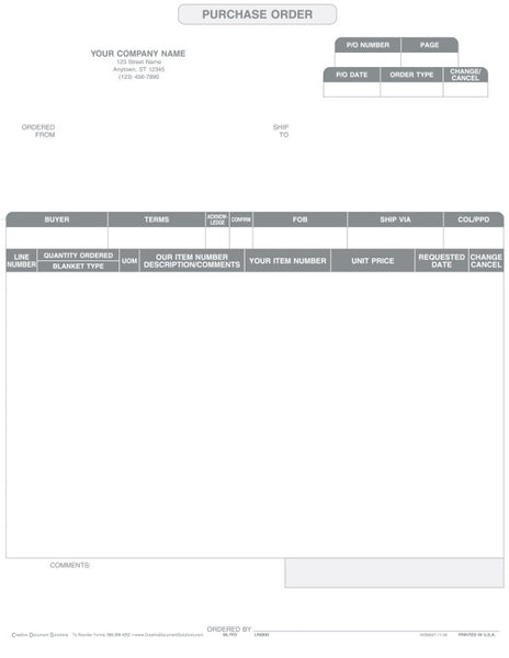 Macola 7 Laser Purchase Order Form