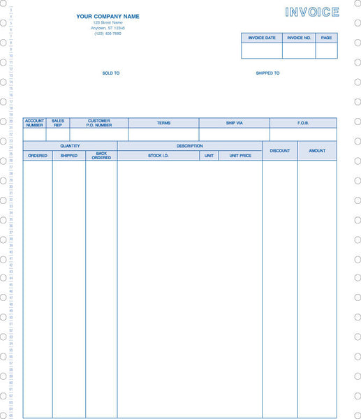 Peachtree Continuous 2000 Product Invoice Form