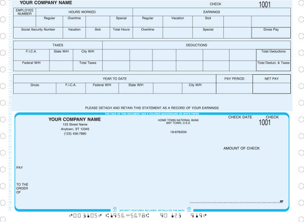 Peachtree Continuous Payroll Check (Boxed Headers in Stub)