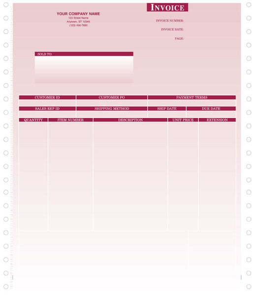 Peachtree Continuous Product Invoice Form