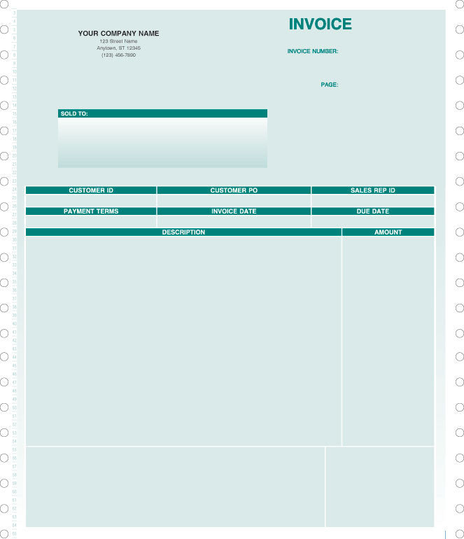 Peachtree Continuous Service Invoice Form