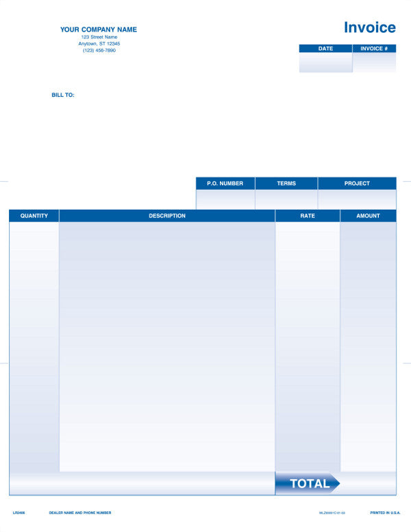 QuickBooks Quicken Microsoft Money Laser Service Invoice Form