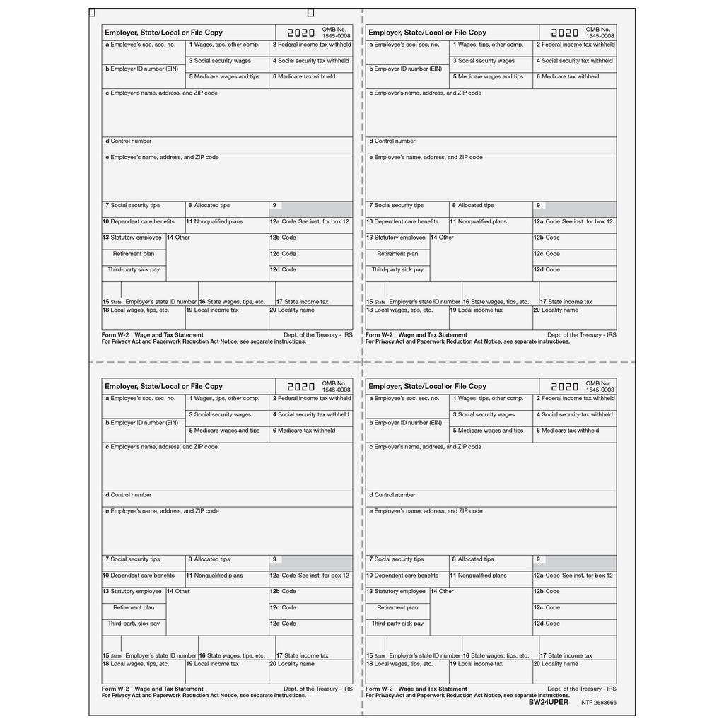 W-2 Laser Employer 4-Up (Four Employees Per Page)