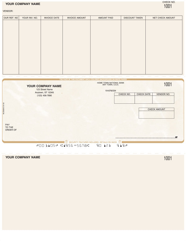 Peachtree Laser Accounts Payable Check (bottom stub blank)