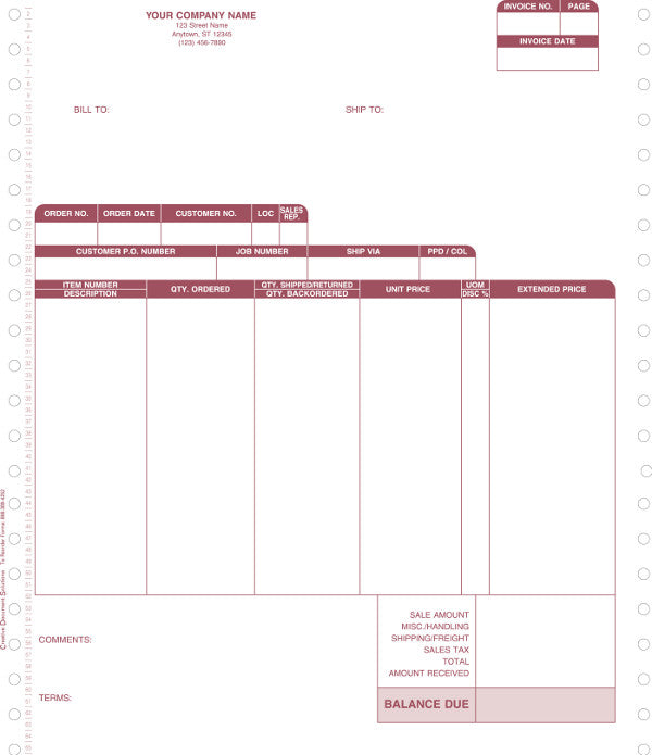 Macola 7 Continuous Invoice Form