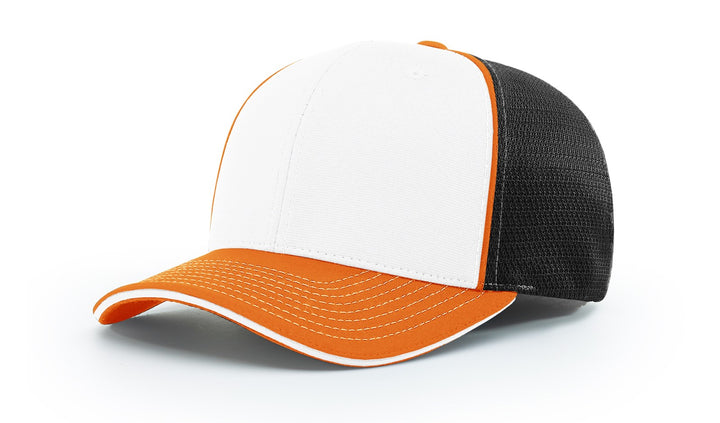 Richardson Sport Mesh with Piping Alternate White Front 172