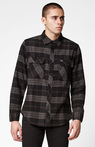 BRIXTON BOWERY PLAID FLANNEL LONG SLEEVE BUTTON UP SHIRT