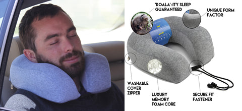 Orthopedic quality neck pillow from blitzby with infographic describing benefits
