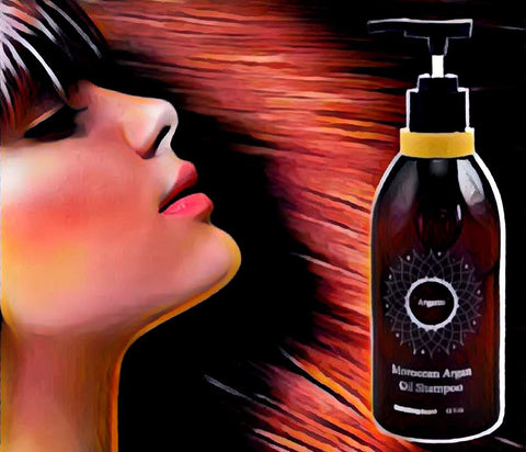 Art piece of Argan Oil Shampoo with thick, natural hair regrowth