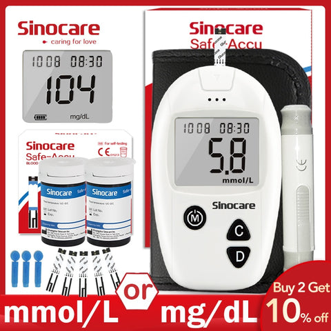 Sinocare Safe-Accu Blood Glucose Meter Glucometer Kit Diabetes Tester 50/100 Test Strips Lancets Medical Blood Sugar Meter - Buy The Park | Beautiful Luxury Apparel & Accessories