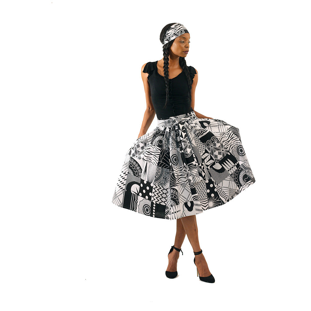 Assorted African Print Knee Length Skirt with Matching Scarf
