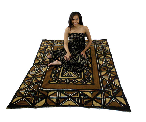 5 x 7 Foot Genuine Mudcloth Area Rug
