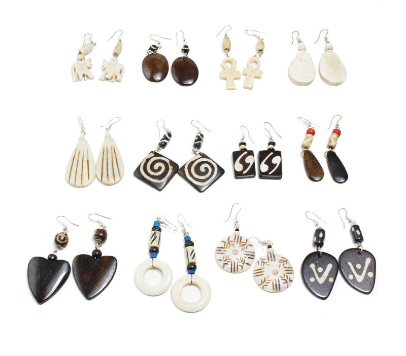 Set of 12 Assorted African Earrings