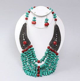 Turquoise Stone Beaded Necklace & Earring Set