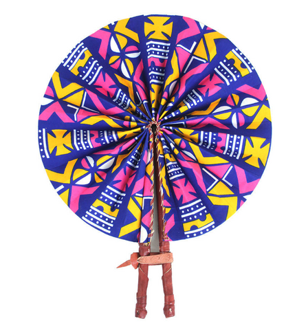 Kenyan African Print Leather Fan