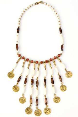 Beaded Bone and Brass Swirl Necklace