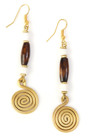 Beaded Bone and Brass Swirl Earrings