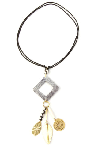 Bone and Brass Charm Necklace