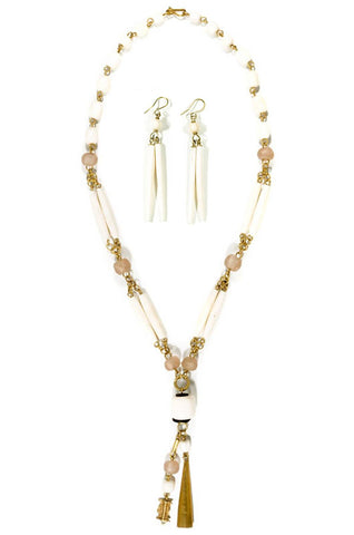 Kenyan Drop Necklace and Earring Set