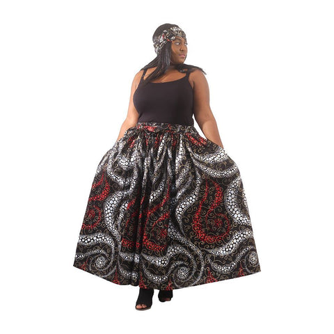 Lewa Luxury Maxi Skirt with Full Size Headwrap
