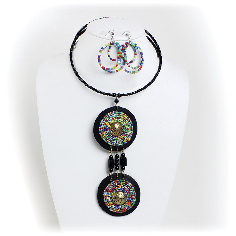 Maasai Beaded Goddess Pendant Choker & Earring Set
