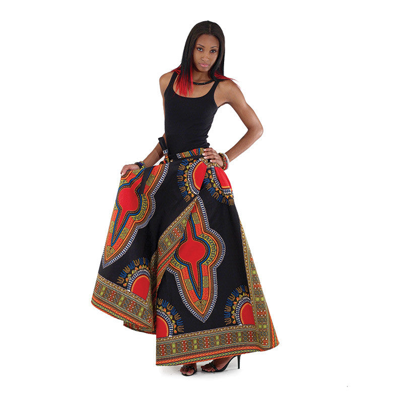 Traditional Print Wrap Maxi Skirt
