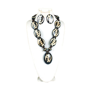 African Symbol Necklace & Earring Set