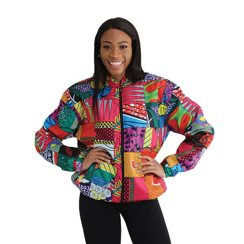 Ladies African Abstract Print Hooded Bomber Jacket