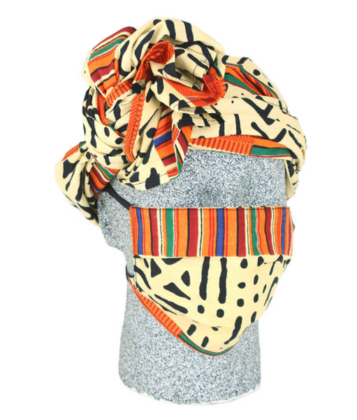 Assorted African Print Headwrap & Mask Set