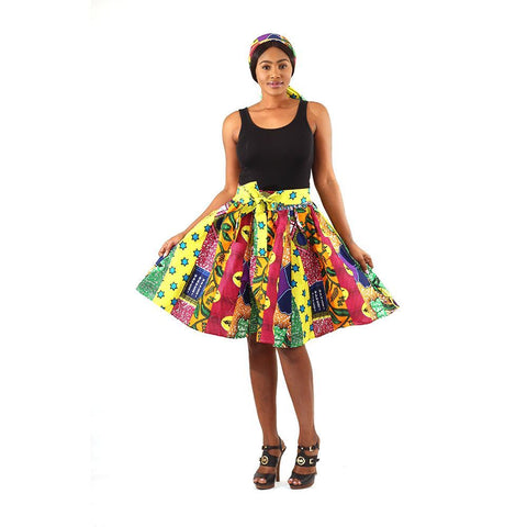 African Print Abstract Multi Short Skirt with Matching Scarf