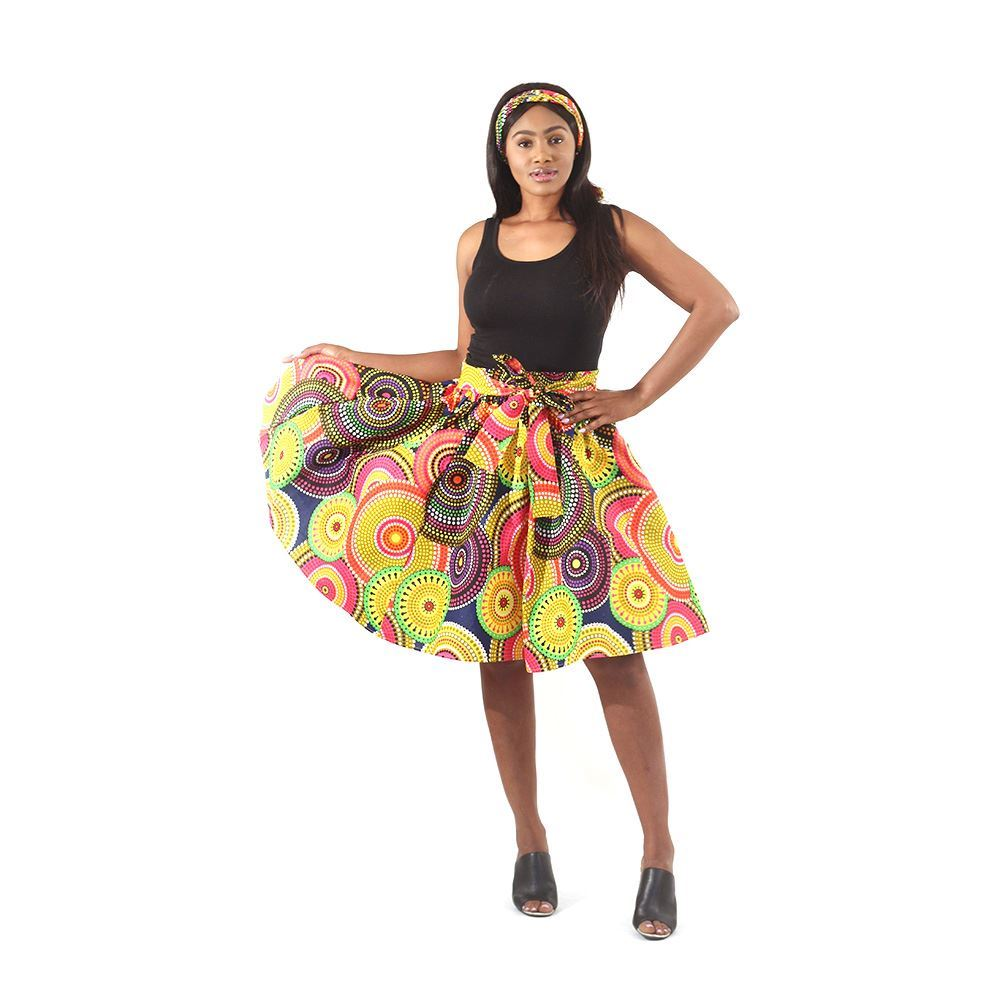 Rainbow Circle African Print Short Skirt with Matching Scarf