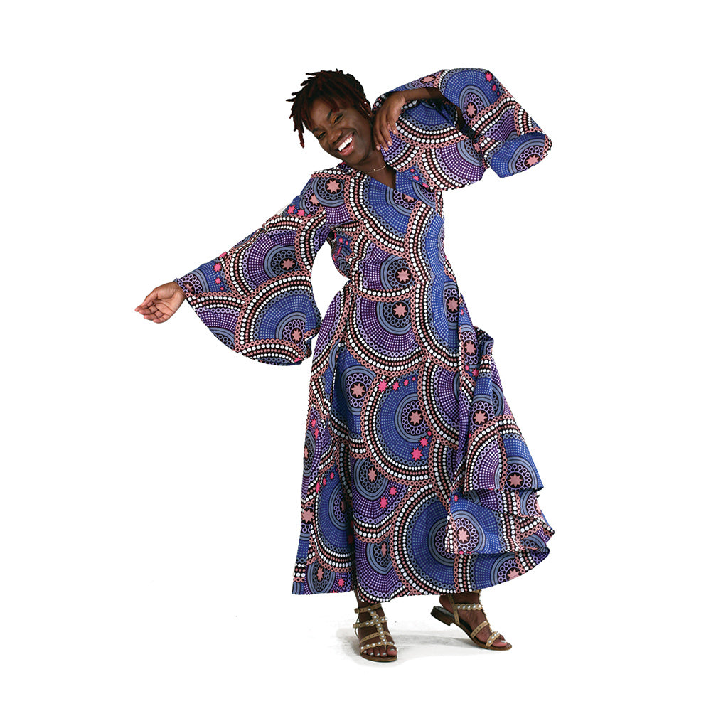 African Purple Abstract Wrap Dress