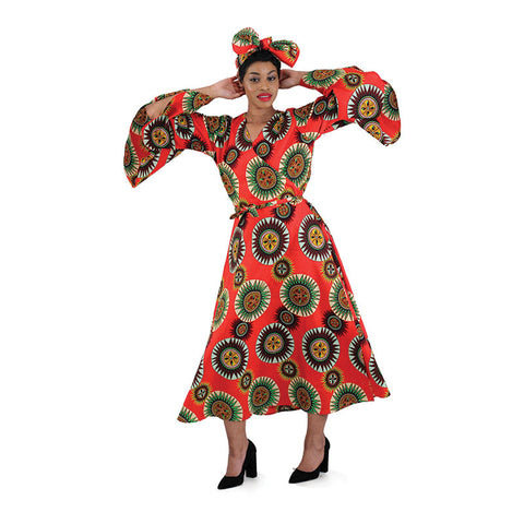 African Red Multi Print Wrap Dress